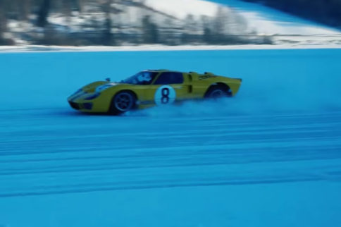 Racing A Ford GT40 On A Frozen Track In Norway