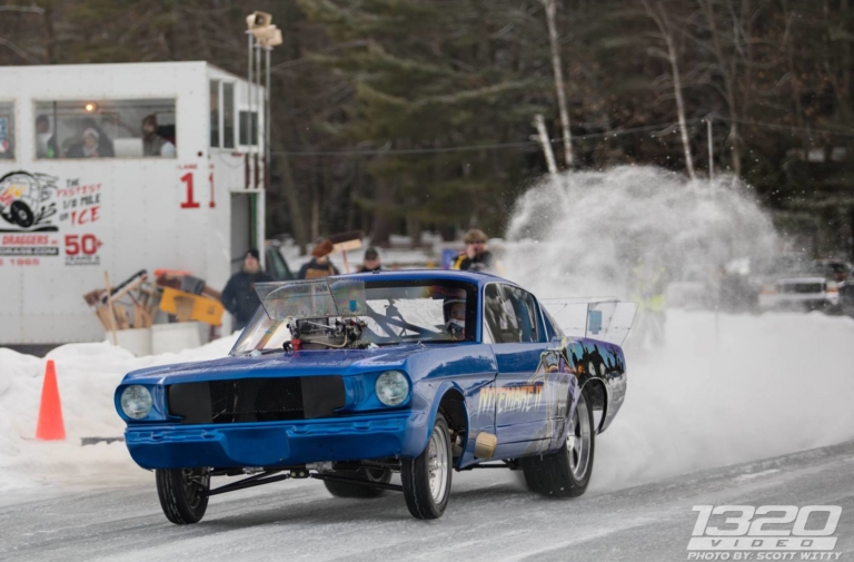 1,000HP Big-Block 'Stang Yanks The Front Tires On Ice!